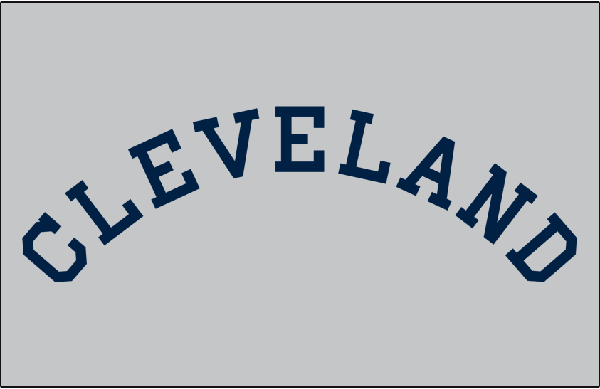 Cleveland Indians Logo Jersey Logo (1919) - CLEVELAND arched in navy blue on grey, worn on Indians road jersey in 1919 SportsLogos.Net