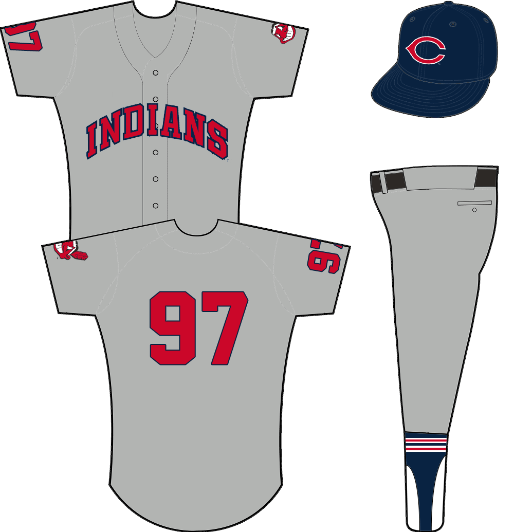 Cleveland Indians Uniform Road Uniform (1958-1961) - INDIANS arched in red with blue trim on a grey uniform. Chief Wahoo logo on left sleeve, player number on the right. Cap is blue with wishbone red C logo. SportsLogos.Net