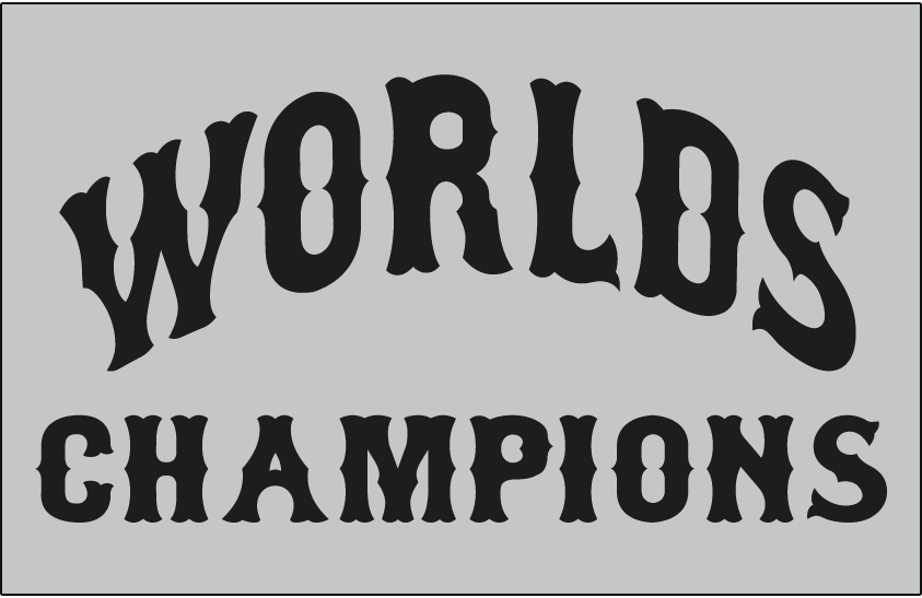 Cleveland Indians Logo Jersey Logo (1921) - WORLDS CHAMPIONS arched in black on grey, worn on the Cleveland Indians road jersey in 1921 in celebration of their 1920 World Series victory SportsLogos.Net