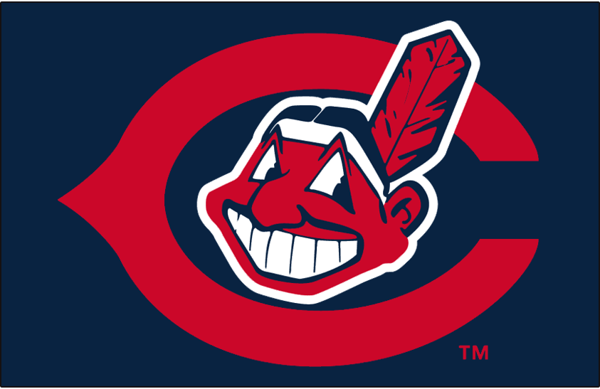 Cleveland Indians Logo Cap Logo (1962) - Chief Wahoo on a red wishbone-style C outlined in white on blue, worn on Cleveland Indians cap in 1962 SportsLogos.Net