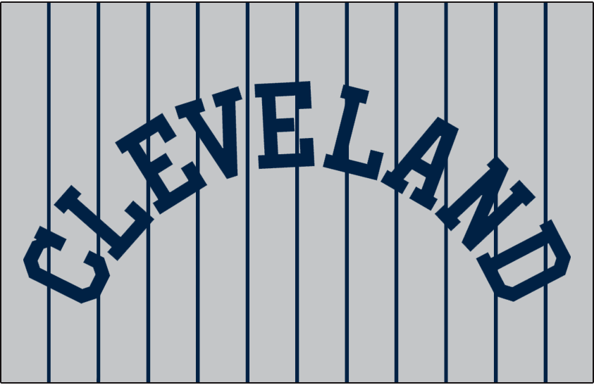 Cleveland Indians Logo Jersey Logo (1917-1918) - CLEVELAND arched in navy blue on grey with blue pinstripes, worn on the Indians road jersey in 1917 and 1918 SportsLogos.Net