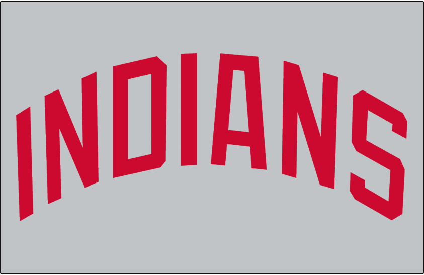 Cleveland Indians Logo Jersey Logo (1972) - INDIANS arched in red on grey, worn on Cleveland Indians road jersey in 1972 only SportsLogos.Net