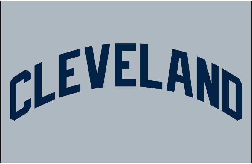 Cleveland Indians Logo Jersey Logo (1971) - CLEVELAND arched in blue on grey, worn on Cleveland Indians road jersey in 1971 only SportsLogos.Net