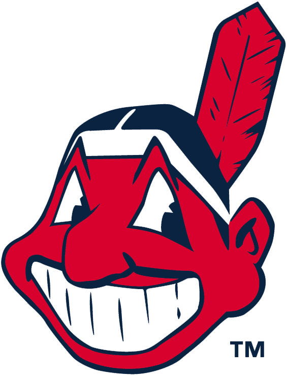 Cleveland Indians Logo Alternate Logo (2014-Pres) - Chief Wahoo -- a red native american caricature wearing a single-feathered hand band. Used as the Indians primary logo for decades before being relegated as an alternate logo prior to 2014 season SportsLogos.Net
