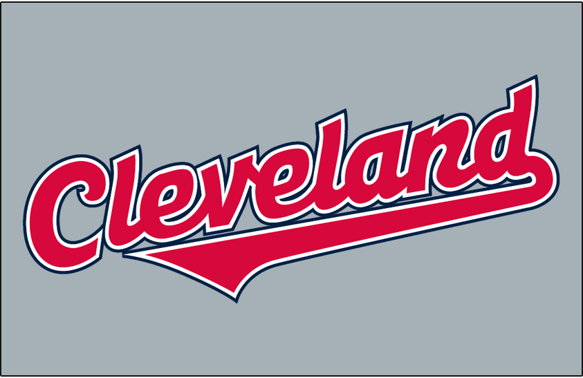 Cleveland Indians Logo Jersey Logo (2008-2010) - (Road) Cleveland in red with white and navy outlines on grey SportsLogos.Net
