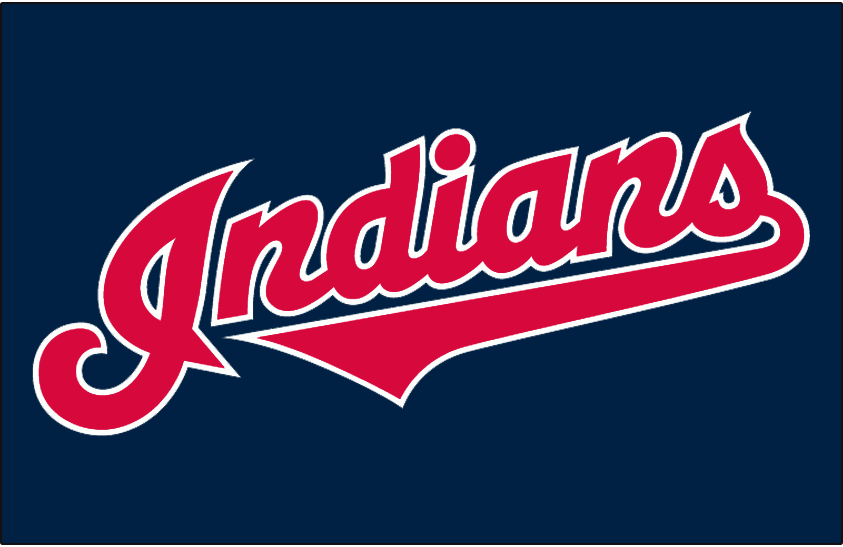 Cleveland Indians Logo Jersey Logo (2012-Pres) - (Alternate) Indians in red with a white outline on navy SportsLogos.Net