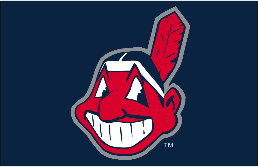 Cleveland Indians Logo Cap Logo (2003-2007) - Chief Wahoo with a silver outline on navy, worn on Cleveland Indians home and road cap from 2003-07 SportsLogos.Net