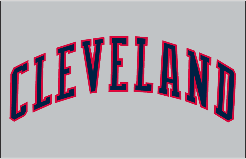 Cleveland Indians Logo Jersey Logo (1989-1993) - (Road) Cleveland in blue block lettering with a red outline on grey SportsLogos.Net
