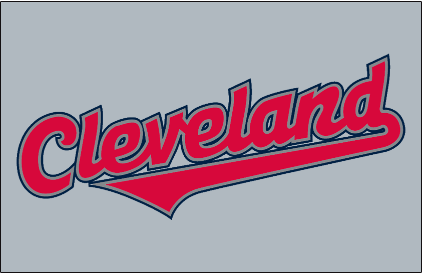 Cleveland Indians Logo Jersey Logo (2002-2007) - (Road) Cleveland in red with silver and navy outlines on grey SportsLogos.Net