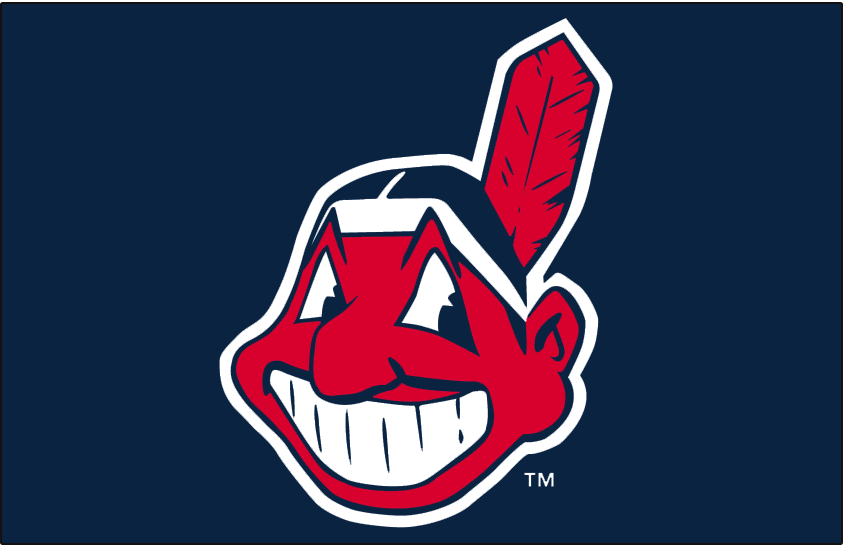 Cleveland Indians Logo Cap Logo (1986-2002) - Chief Wahoo with a white outline on navy SportsLogos.Net