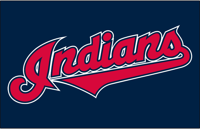 Cleveland Indians Logo Jersey Logo (2008-2011) - (Alternate) Indians in red with navy and white outlines on navy SportsLogos.Net