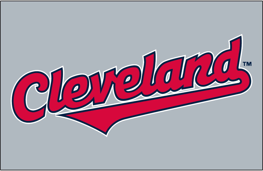 Cleveland Indians Logo Jersey Logo (1994-2001) - (Road) Cleveland in red with navy and white outlines in grey SportsLogos.Net