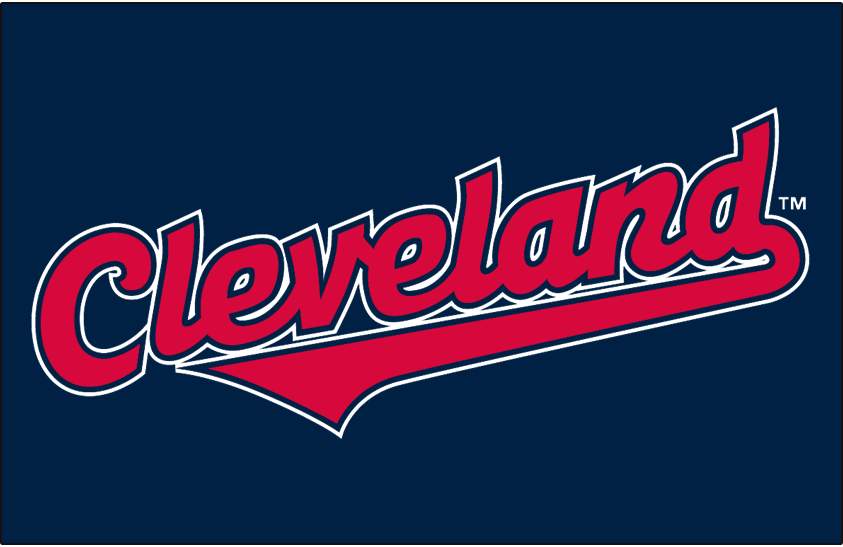 Cleveland Indians Logo Jersey Logo (1997-2001) - (Alternate) Cleveland in red with navy and white outlines on navy SportsLogos.Net