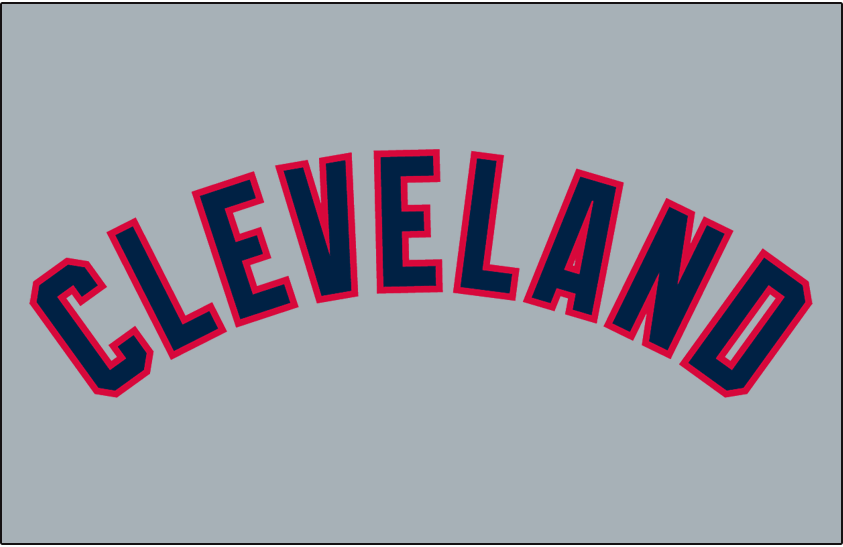 Cleveland Indians Logo Jersey Logo (2011-Pres) - (Road) Cleveland in navy block lettering with a red outline on grey SportsLogos.Net