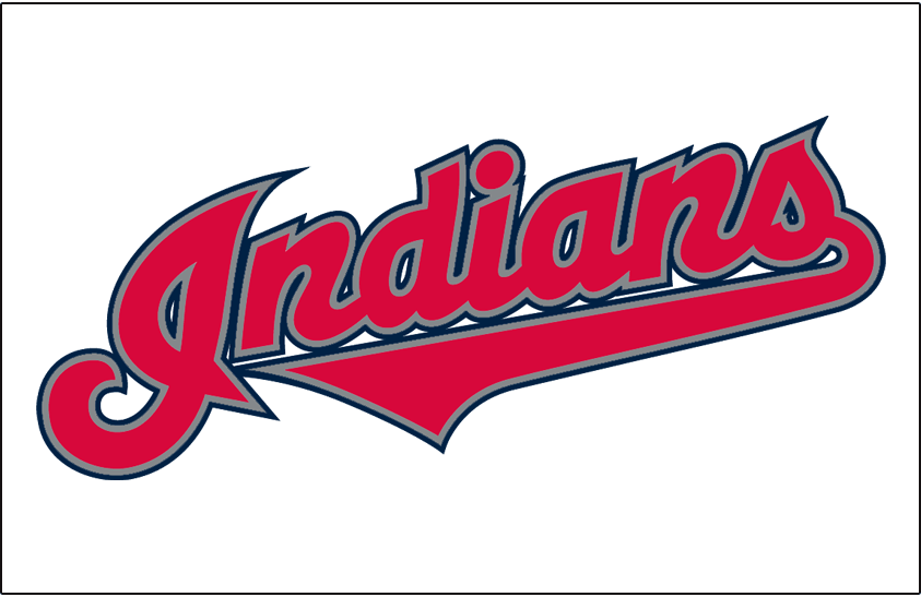 Cleveland Indians Logo Jersey Logo (2002-2007) - (Home) Indians in red with silver and navy outlines on white SportsLogos.Net