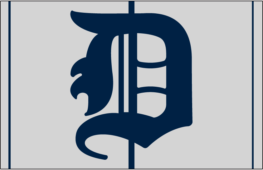 Detroit Tigers Logo Cap Logo (1905-1906) - A blue D on grey cap with blue pinstripes, worn by Tigers on road in 1905 and 1906 SportsLogos.Net