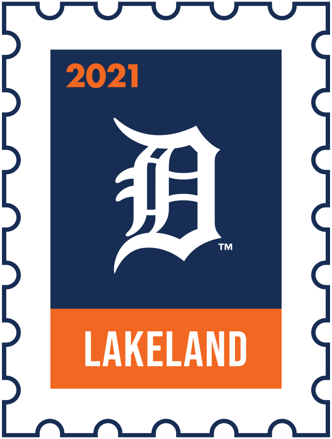 Detroit Tigers Logo Event Logo (2021) - The Detroit Tigers 2021 Spring Training logo, the design follows a league-wide style using a postage stamp in team colours with the team logo in the middle. SportsLogos.Net
