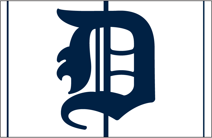 Detroit Tigers Logo Cap Logo (1905-1913) - A blue D on white cap with blue pinstripes, worn by Tigers at home from 1905 to 1913 SportsLogos.Net