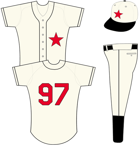 Detroit Tigers Uniform Special Event Uniform (2013) - Cream uniform with black piping, single red star outlined in black on left breast of jersey, red numbers with black trim and no name on back.  Cap is cream crown with black bill and button, red star on front of cap. SportsLogos.Net