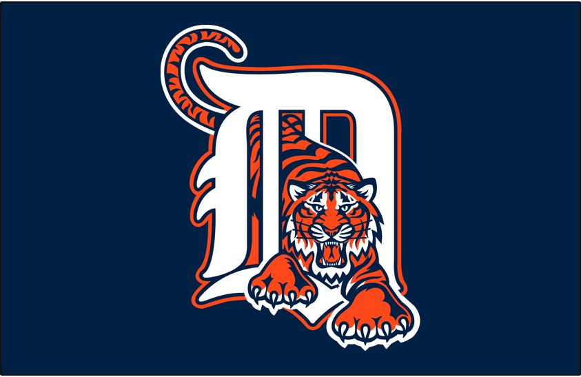 Detroit Tigers Logo Cap Logo (1995-1997) - White D with orange trim and a tiger walking through it on navy blue, worn on Detroit Tigers road cap from 1995 through 1997 SportsLogos.Net