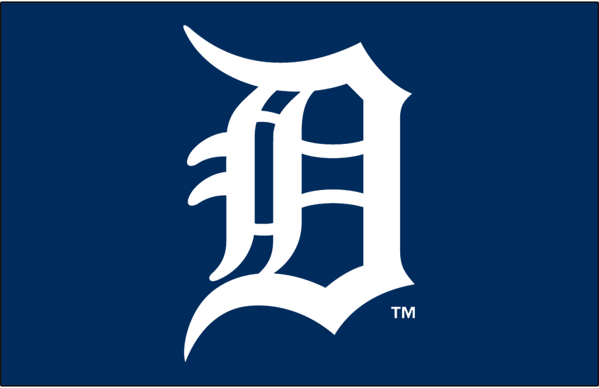 Detroit Tigers Logo Primary Dark Logo (2016-Pres) - Tigers primary D logo on blue in white SportsLogos.Net