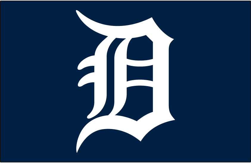 Detroit Tigers Logo Cap Logo (1961-1965) - A white D on a blue cap, worn on Tigers caps from 1961-1965 SportsLogos.Net