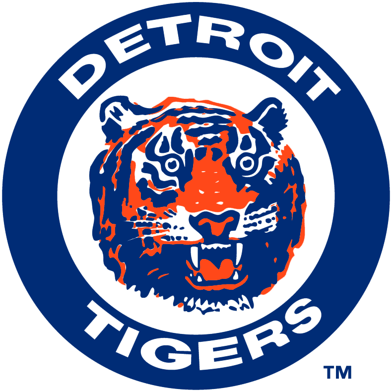 Detroit Tigers Logo Primary Logo (1964-1993) - A tiger head in a navy ring with Detroit Tigers in white SportsLogos.Net