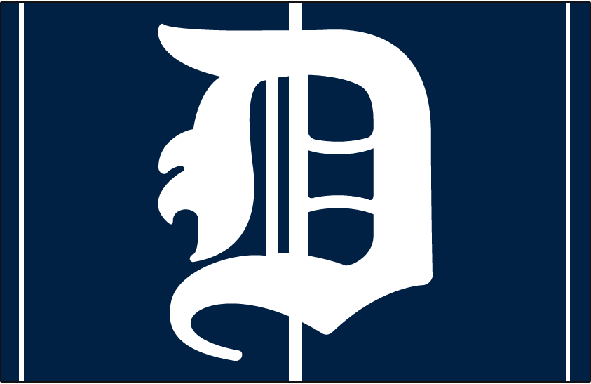 Detroit Tigers Logo Cap Logo (1907-1912) - A white D on a blue cap with white pinstripes, worn by Tigers on road from 1907 to 1912 SportsLogos.Net