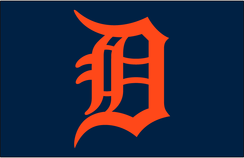 Detroit Tigers Logo Cap Logo (1983-1994) - Calligraphed D in orange on navy, worn on Detroit Tigers road cap from 1983-94 SportsLogos.Net