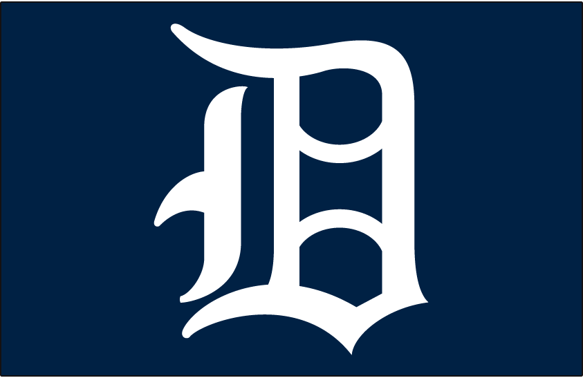 Detroit Tigers Logo Cap Logo (1958-1960) - A white D on a blue cap, worn on Tigers caps from 1958-1960 SportsLogos.Net