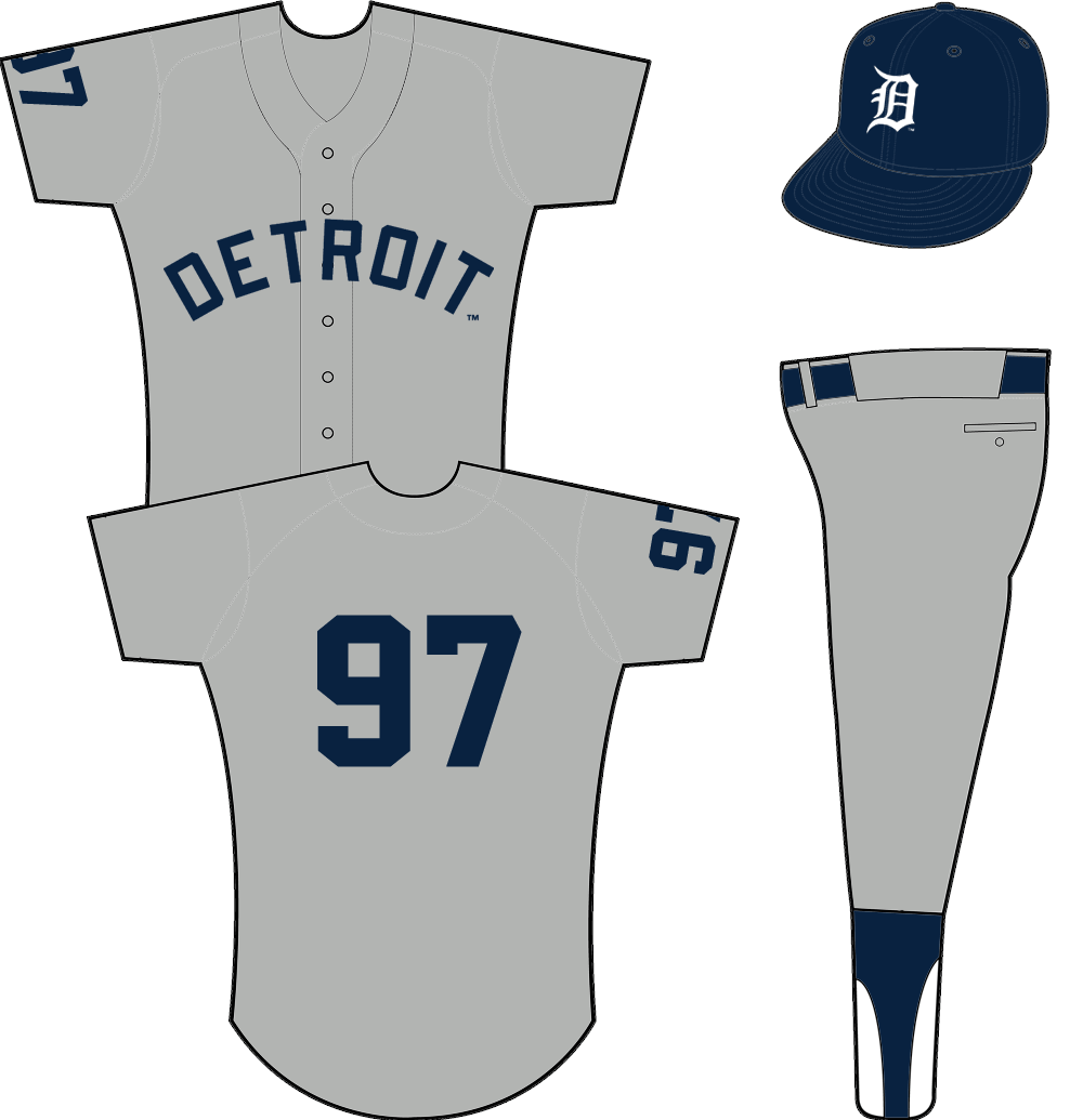 Detroit Tigers Uniform Road Uniform (1960-1971) - DETROIT arched in blue across grey jersey, player number on sleeve and back in blue. SportsLogos.Net