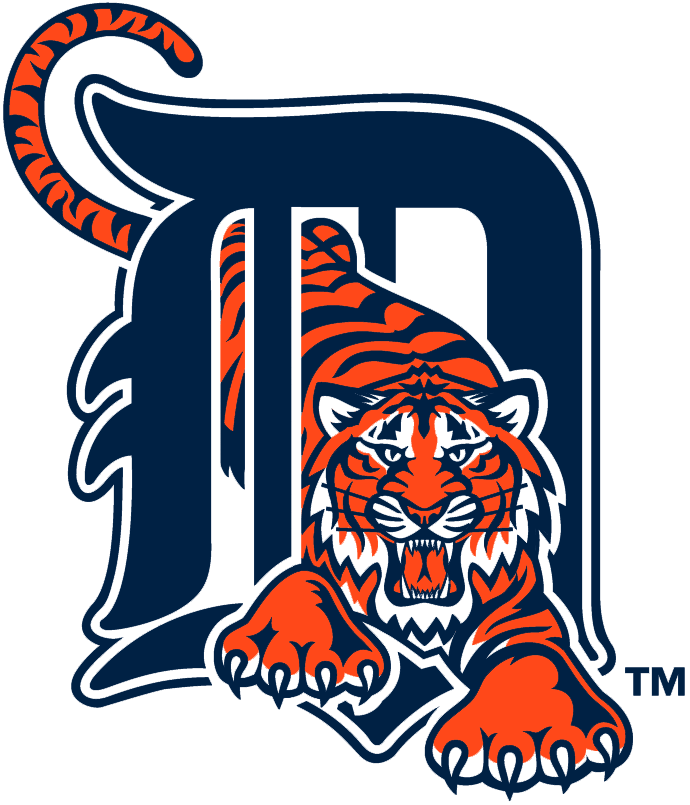Detroit Tigers Logo Primary Logo (1994-2005) - Orange tiger walking through calligraphic D in navy SportsLogos.Net