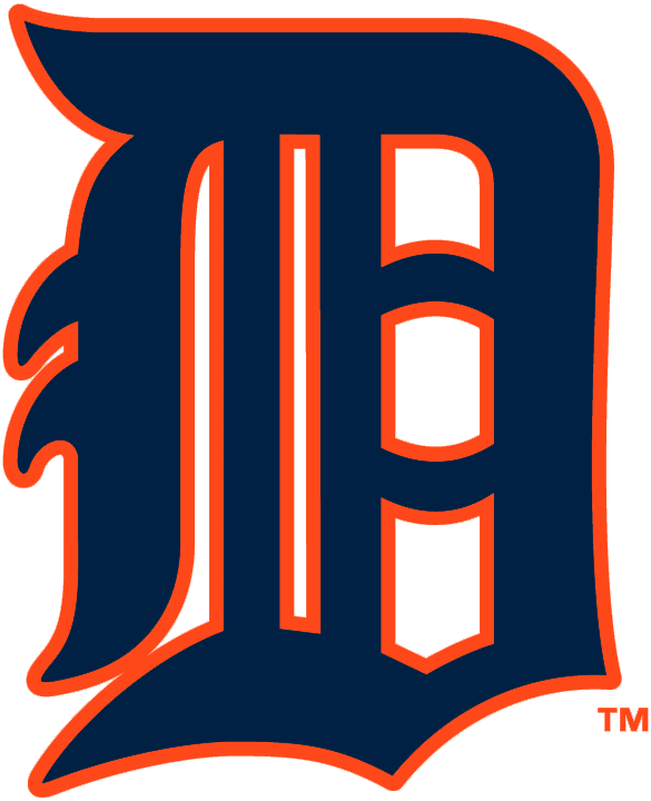 Detroit Tigers Logo Primary Logo (1929) - A navy Olde English style D with orange trim SportsLogos.Net