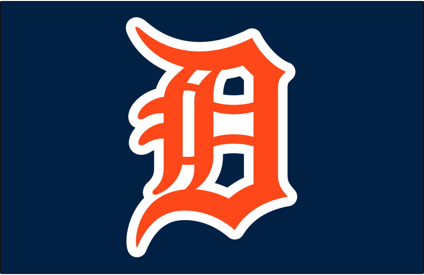 Detroit Tigers Logo Cap Logo (1972-1982) - D in orange with white outline on navy blue, worn on Tigers road cap from 1972 until 1982 SportsLogos.Net
