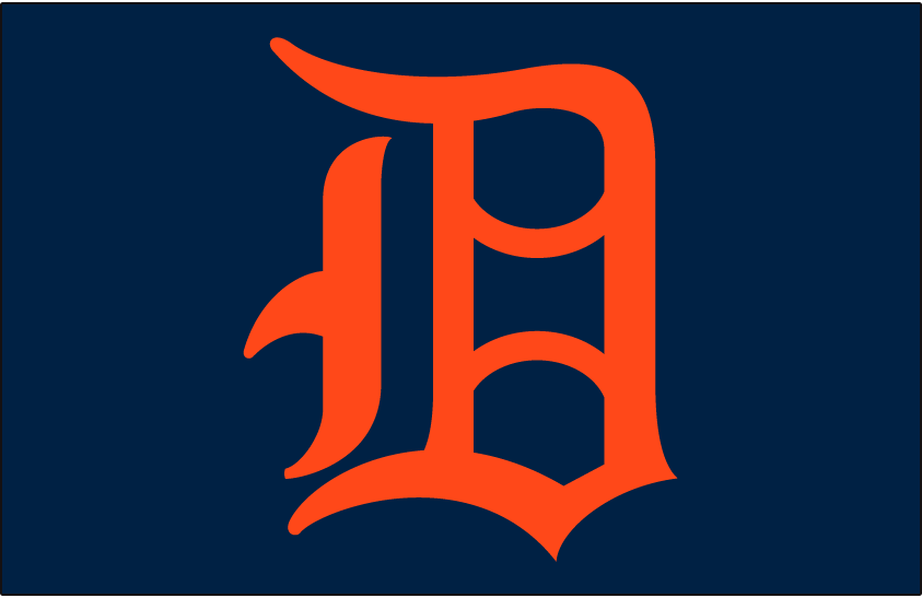 Detroit Tigers Logo Cap Logo (1947-1957) - An orange D on a blue cap, worn on Tigers caps from 1947 to 1957 (home only from 1947-51) SportsLogos.Net