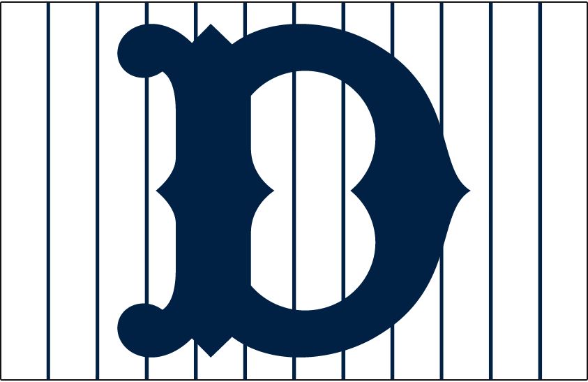 Detroit Tigers Logo Cap Logo (1920) - A blue D on a white cap with blue pinstripes worn by Tigers at home in 1920 SportsLogos.Net