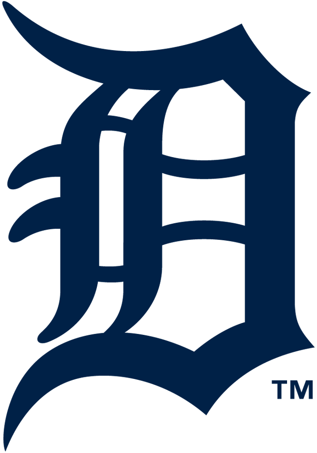 Detroit Tigers Logo Primary Logo (2016-Pres) - Olde English style D from the Tigers ball cap in navy blue SportsLogos.Net