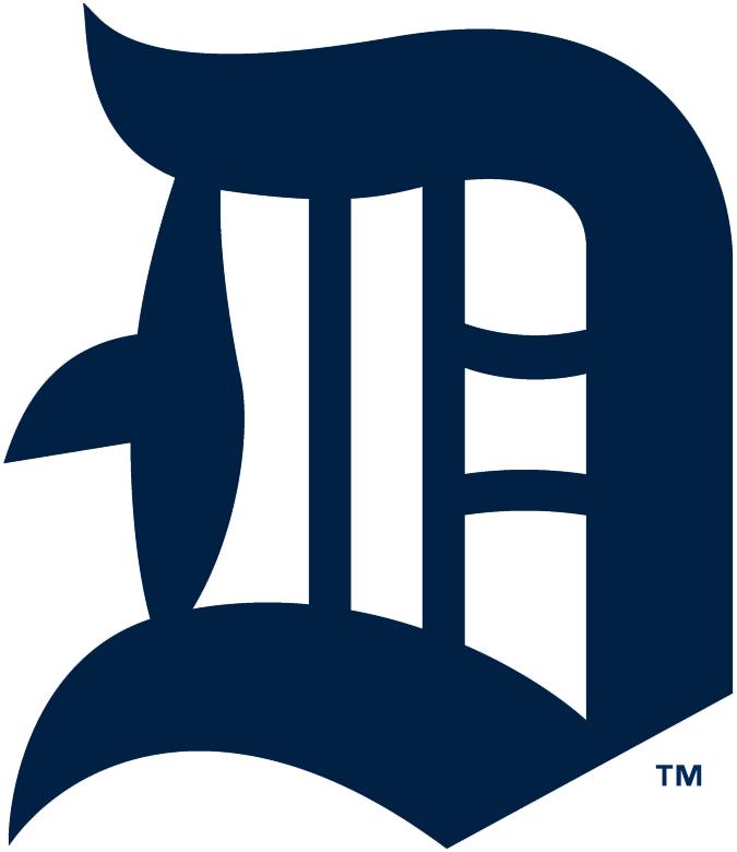 Detroit Tigers Logo Primary Logo (1914-1915) - Olde-English style navy blue D SportsLogos.Net