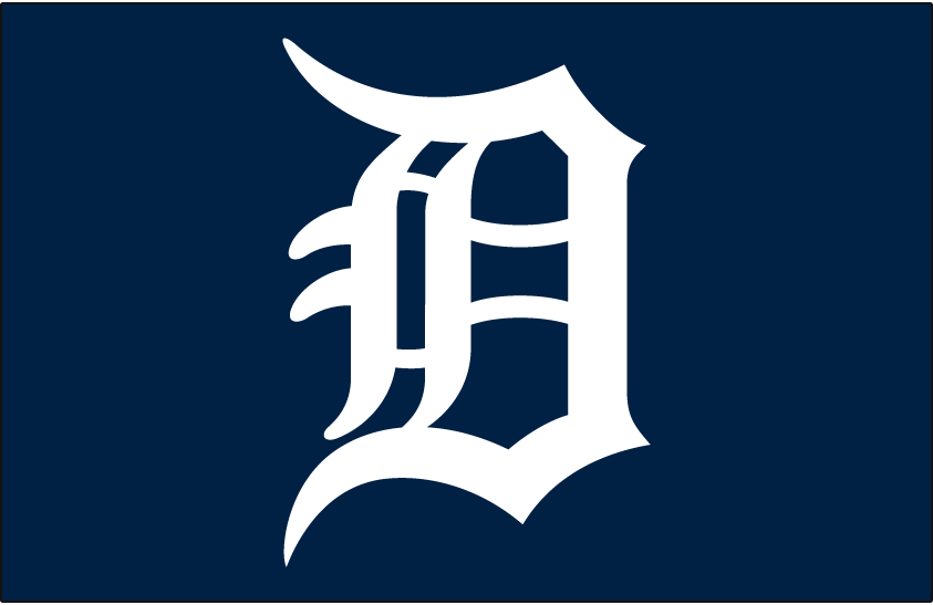 Detroit Tigers Logo Cap Logo (1968-Pres) - Calligraphed D in white on navy blue, worn on Detroit Tigers caps since 1968 (home games only since 1972) SportsLogos.Net