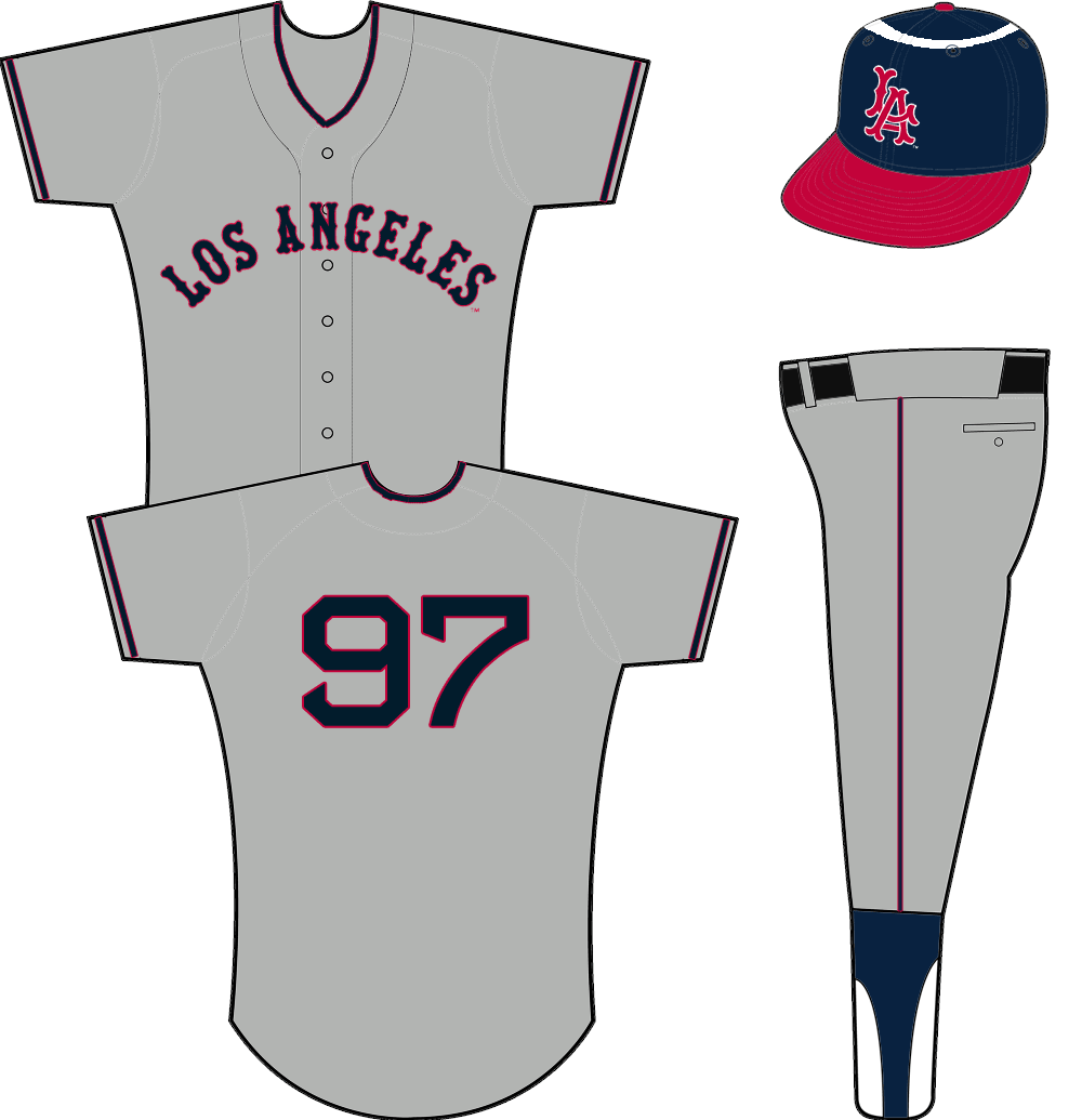Los Angeles Angels Uniform Road Uniform (1961-1964) - LOS ANGELES arched in blue and red on a grey jersey, cap features LA logo and white halo at top SportsLogos.Net