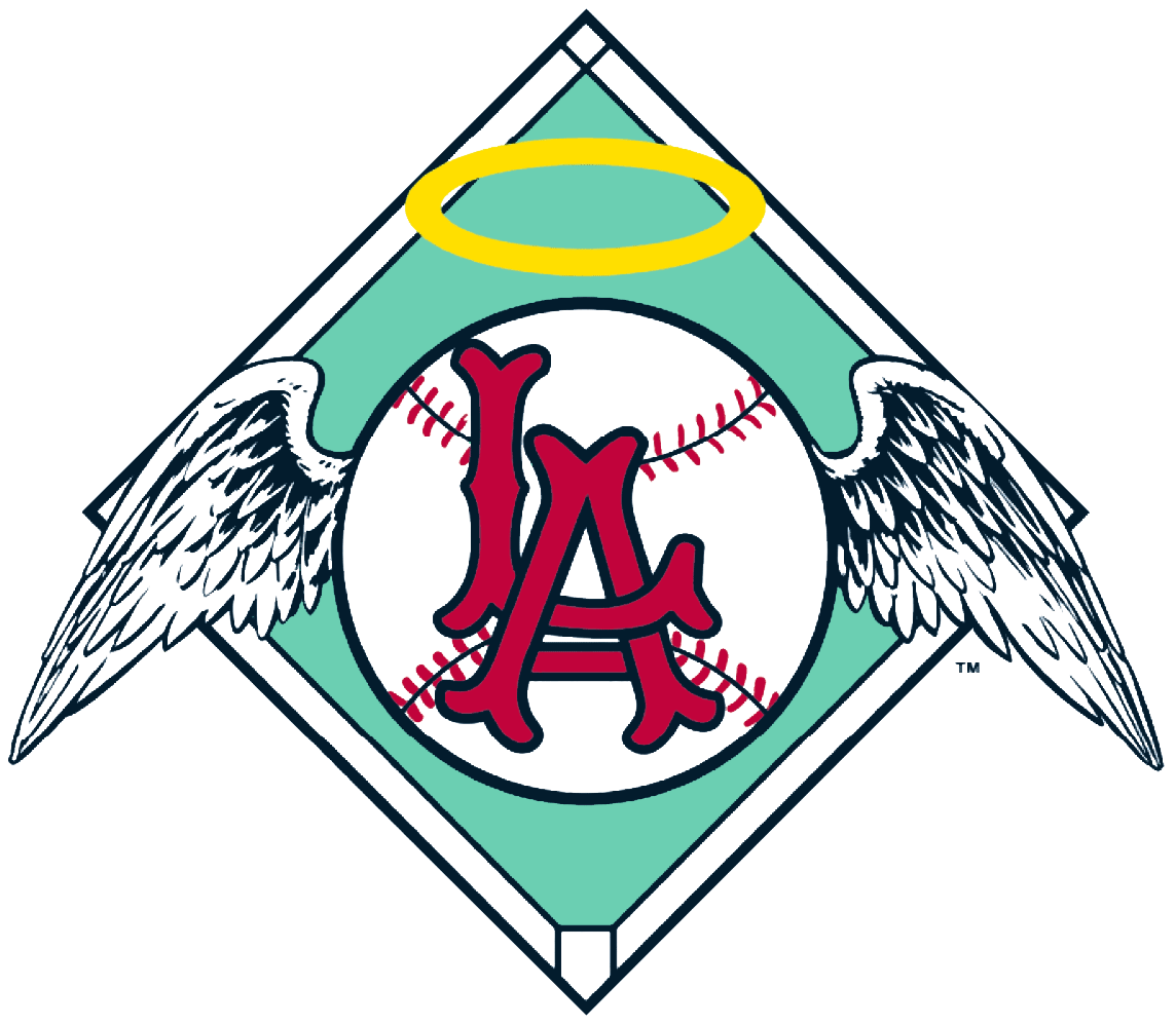 Los Angeles Angels Logo Primary Logo (1961-1964) - Red LA on a baseball with wings on a green baseball diamond SportsLogos.Net