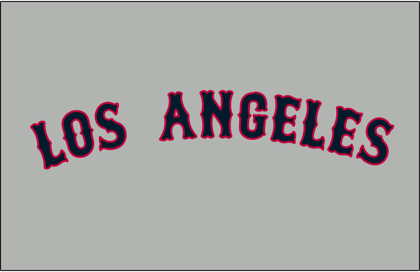 Los Angeles Angels Logo Jersey Logo (1961-1964) - Los Angeles in blue and red on grey, worn on the Los Angeles Angels road uniforms from 1961 to 1964 SportsLogos.Net