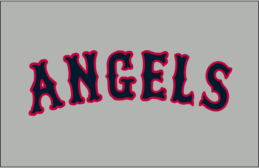 California Angels Logo Jersey Logo (1965-1970) - Angels in blue and red on grey, worn on the California Angels road uniforms from 1965 to 1970 SportsLogos.Net