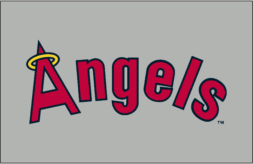 California Angels Logo Jersey Logo (1973-1992) - Angels arched in red and navy blue with a yellow halo on the A on grey. Worn on California Angels road jersey from 1972-1992 SportsLogos.Net