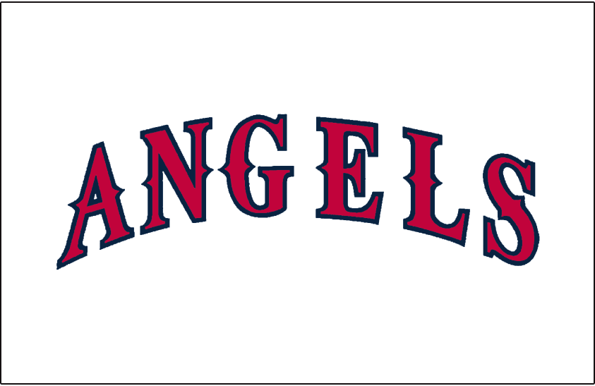 California Angels Logo Jersey Logo (1993-1996) - (Home) Angels arched in red with navy blue outline SportsLogos.Net