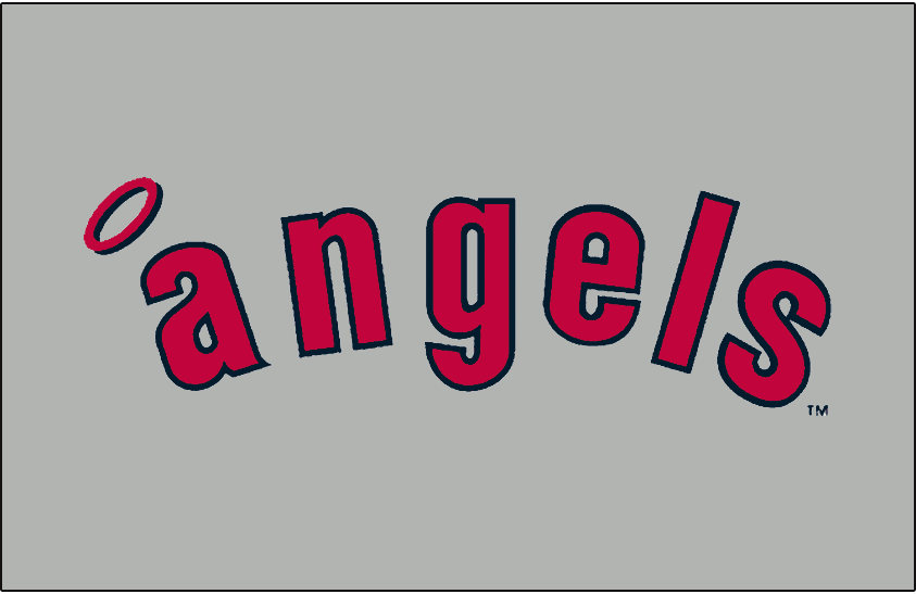 California Angels Logo Jersey Logo (1971-1972) - Angels in blue and red on grey, worn on the California Angels road uniforms from 1971 to 1972 SportsLogos.Net