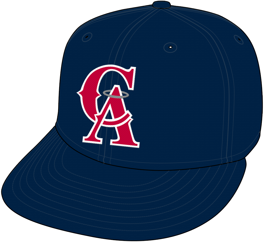 California Angels Cap Cap (1993-1996) - Interlocked CA in red with white trim and silver halo on an all blue cap, worn on the road by the California Angels from 1993 to 1996 SportsLogos.Net