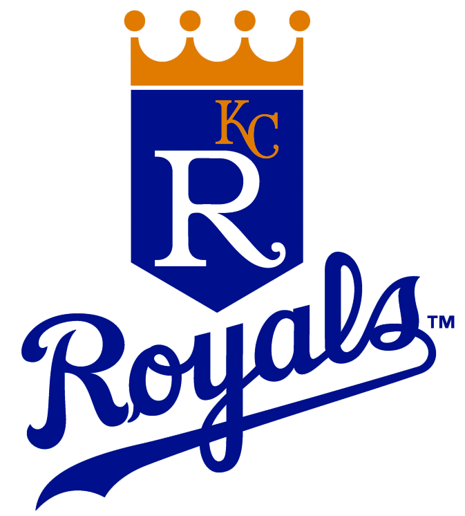 Kansas City Royals Logo Primary Logo (1986-1992) - R with KC in gold on blue shield with gold crown over script SportsLogos.Net