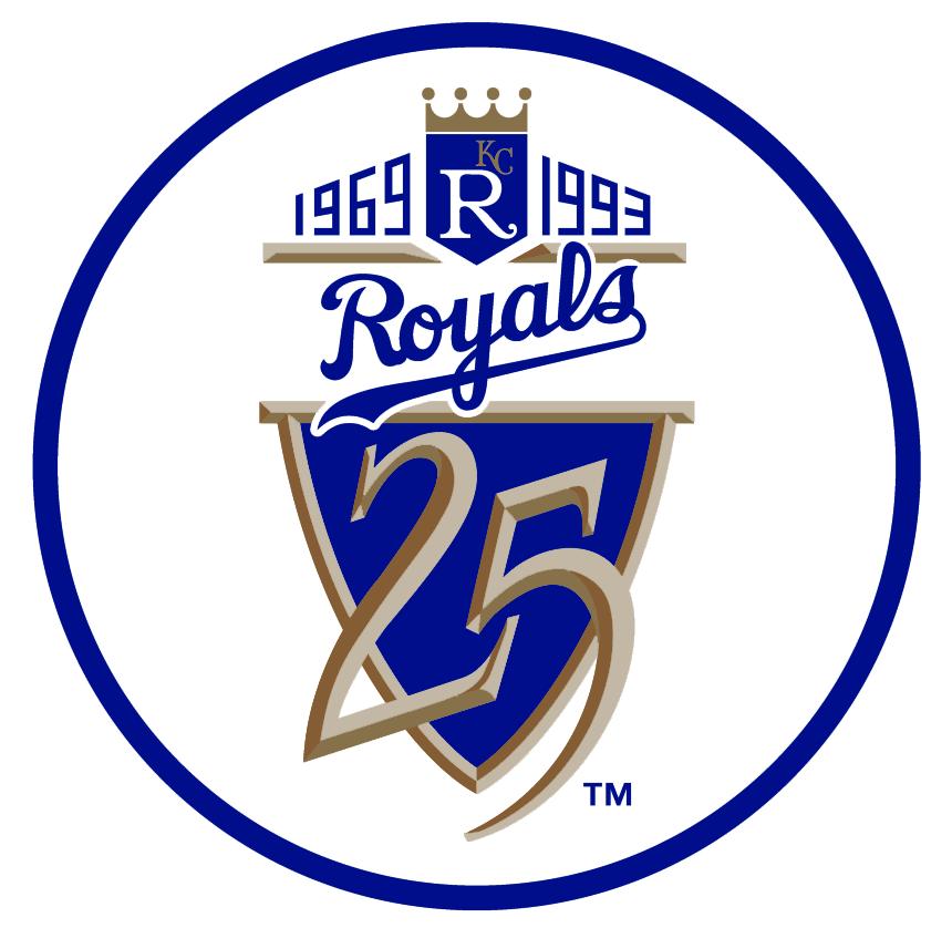 Kansas City Royals Logo Anniversary Logo (1993) - 25th Anniversary of the Kansas City Royals SportsLogos.Net