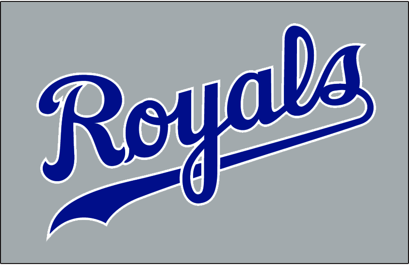 Kansas City Royals Logo Jersey Logo (1992-1994) - Royals in blue with white outline on grey, worn on Kansas City Royals road jersey from 1992 to 1994 SportsLogos.Net